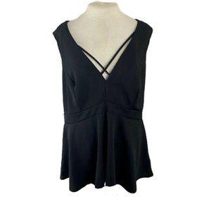 Torrid Black Cross Front Dress Shirt Size 3XL